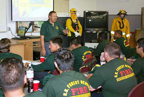 Photo of students studying in classroom at Wildlands Firefighter Academy