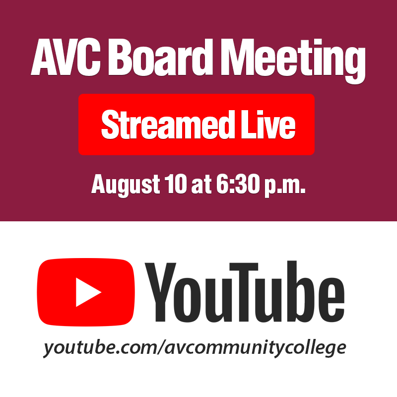 AVC Board Meeting Streamed Live on August 10 at 6:30 p.m.