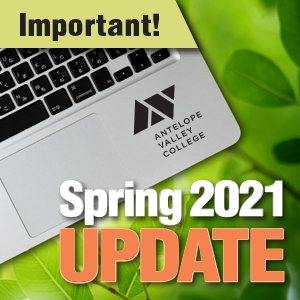 Important Spring 2021 Update Laptop with logo and spring background