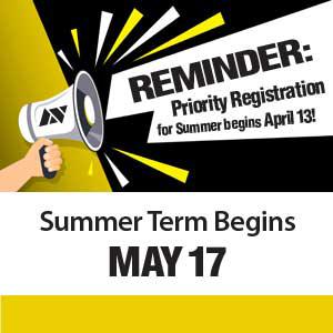 Priority Registration For Summer Begins April 13 - Summer Term Begins May 17