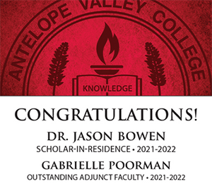 Congratulations To Dr. Jason Bowen (Scholar-in-Residence) and Gabrielle Poorman (Outstanding Adjunct Faculty)