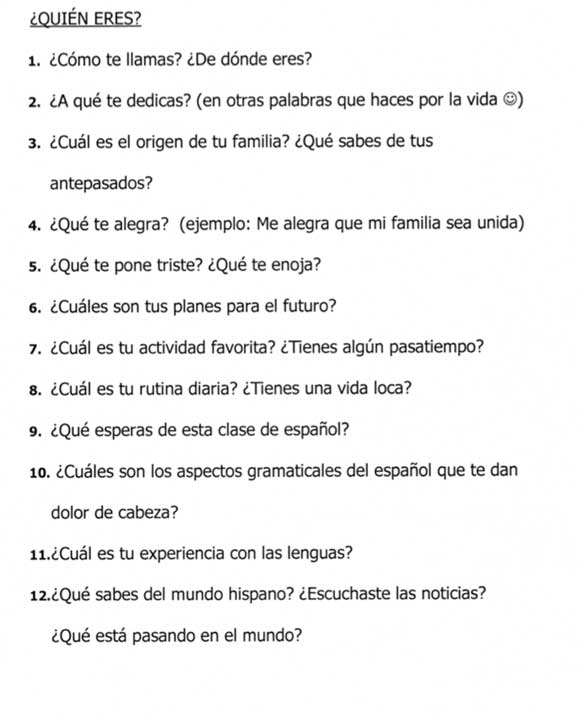 Spanish Question Samples | Antelope Valley College