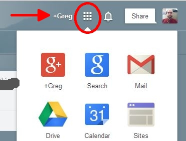 Google Apps Menu typical layout