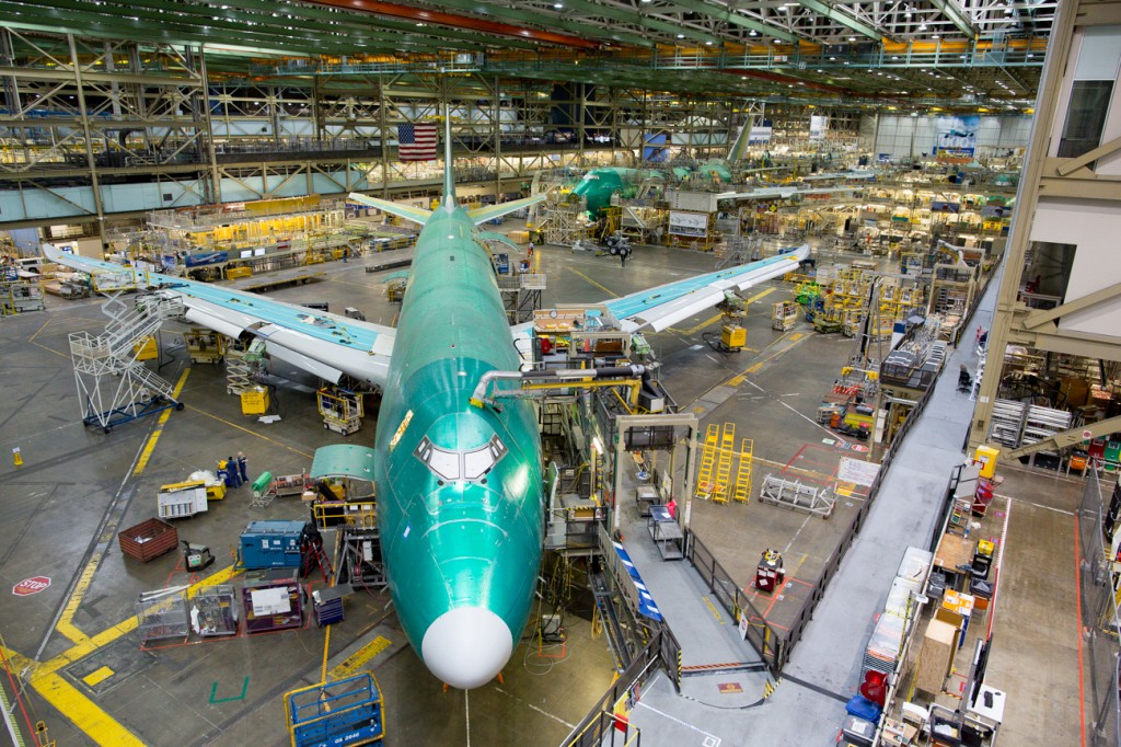 Boeing aircraft being worked on