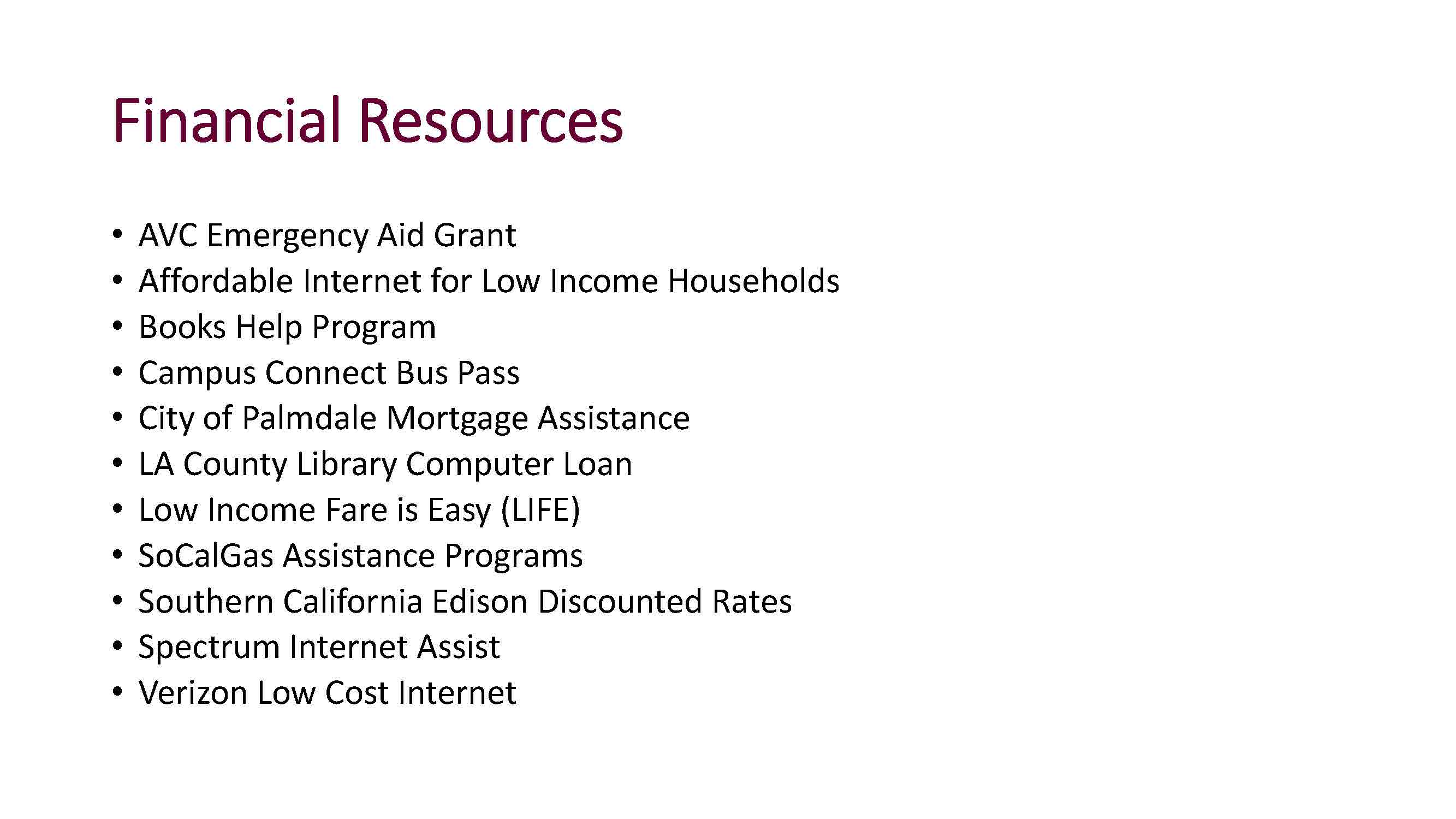 basic needs financial resources