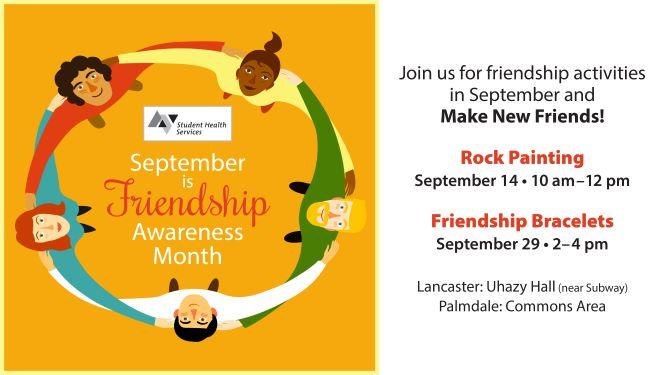 Friendship Awareness Month Events/flyer