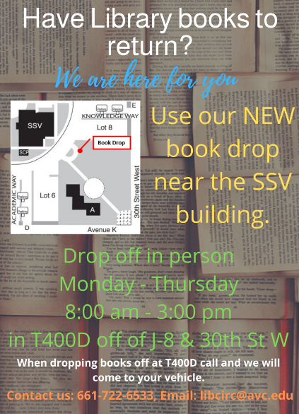 Return books using the new book drop located between the Admin building and the Student Services Building.