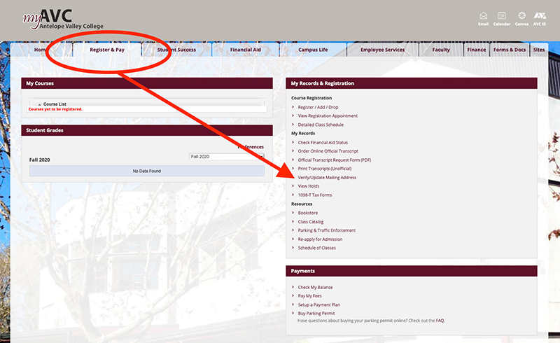 Screen shot showing how to update your mailing address