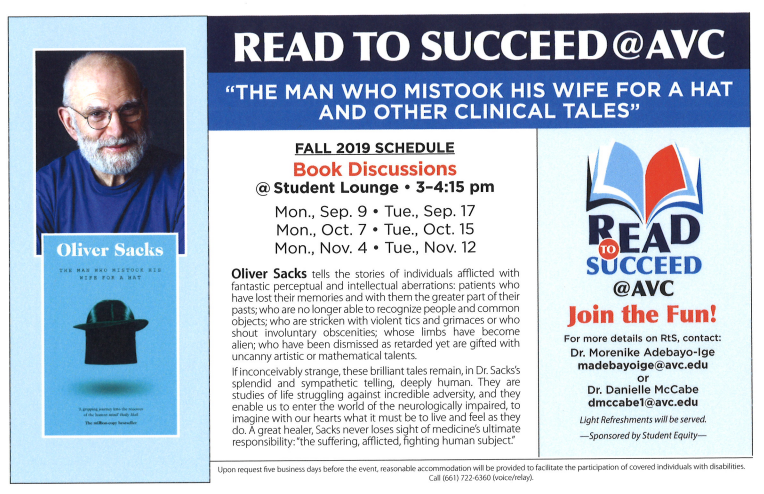 RtS Flyer for book Man Who Mistook His Wife for a Hat