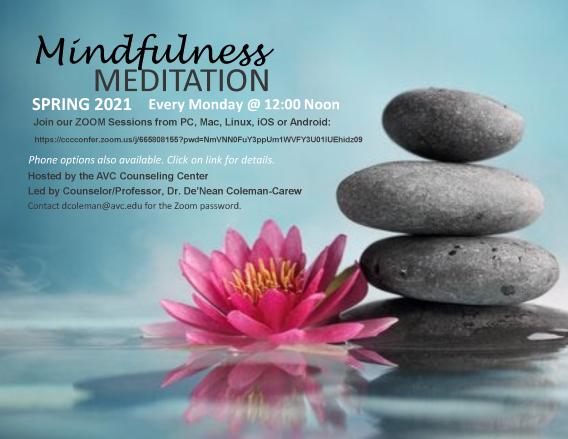Mindfulness Meditation ZOOM flyer Spring 2021