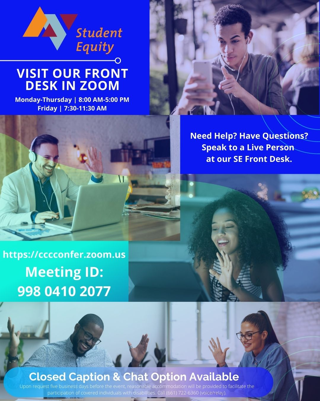 Student Equity Zoom Front Desk Flyer