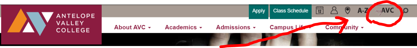 myAVC link in upper right corner of campus web site