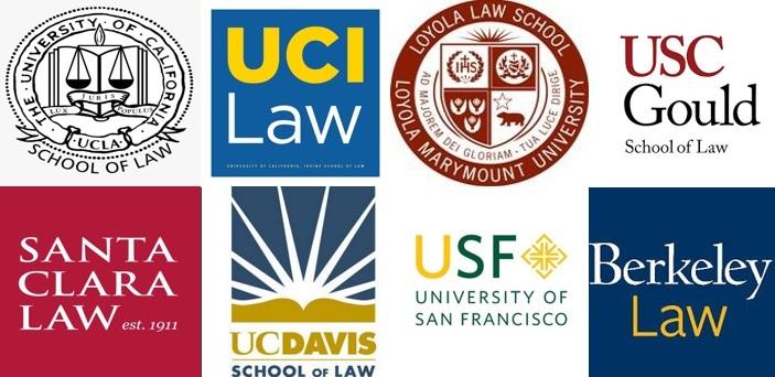 logos for 8 law schools which includes UCLA, UCI, USF, UCD, UCB, Santa Clara, Loyola Marymount, and USC