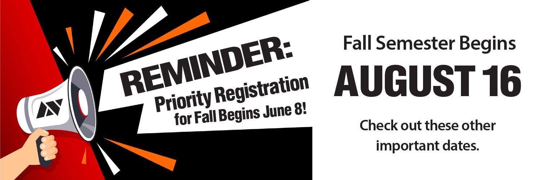 Fall 2021 Priority Registration Begins June 8