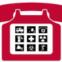 red telephone with keys depicting symbols of resources during a disaster: ambulance, doctor, red cross, person running, megaphone and fire extinguisher